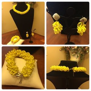 Elegant but simple piece-Yellow crystal beads set